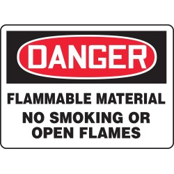 Accuform Signs - MSMK243VA - Accuform Signs 10' X 14' Black, Red And White 0.040' Aluminum Smoking Control Sign 'DANGER FLAMMABLE MATERIAL NO SMOKING OR OPEN FLAMES' With Round Corner