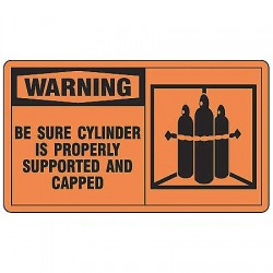 Accuform Signs - MCPG301VP - Warning Sign Be Sure Cylinder 7x10 Plastic 29 Cfr 1910.145 Accuform Mfg Inc, Ea