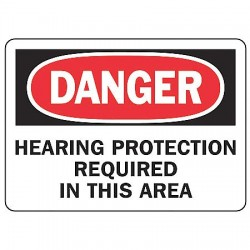 "Accuform Signs - MPPE219VA - Accuform Signs 7"" X 10"" Black, Red And White 0.040"" Aluminum PPE Sign ""DANGER HEARING PROTECTION REQUIRED IN THIS AREA"" With Round Corner"