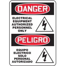 Accuform Signs - MSEL001VA - Danger Sign Electrical Equipment Bilingual Pictorial 14x10 Aluminum 29 Cfr 1910.145 Accuform Mfg Inc, Ea