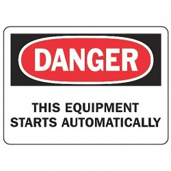 "Accuform Signs - MEQM083VA - Accuform Signs 7"" X 10"" Black, Red And White 0.040"" Aluminum Equipment Sign ""DANGER THIS EQUIPMENT STARTS AUTOMATICALLY"" With Round Corner"