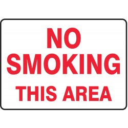 Accuform Signs - MSMK401VP - Emergency Sign No Smoking Area 10x14 Plastic Accuform Mfg Inc, Ea