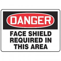 Accuform Signs - MPPE030VA - Danger Sign Face Shield Required 7x10 Aluminum Regusafe Ansi Z535.2-1998 Accuform Mfg Inc, Ea
