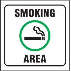Accuform Signs - PSP495 - Smoking Area Sign, 8 x 8In, GRN and BK/WHT