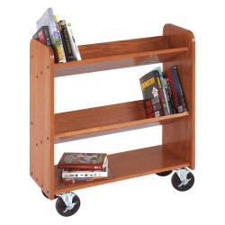 Diversified Woodcrafts - BTO12 - Wood Book Truck with 2 Sloped and 1 Flat Oak Shelves, Rich Honey Oak