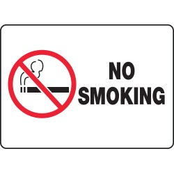 "Accuform Signs - MSMK948VA - Accuform Signs 10"" X 14"" Black, Red And White 0.040"" Aluminum Smoking Control Sign ""NO SMOKING (With Graphic)"" With Round Corner"