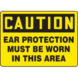 Accuform Signs - MPPA602VA - Personal Protection, Caution, Aluminum, 7 x 10, Not Retroreflective