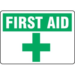 Accuform Signs - MFSD566VS - First Aid Sign, 10 x 14In, GRN and BK/WHT