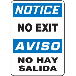Accuform Signs - SBMADM836VP - Exit and Entrance, Notice/Aviso, Plastic, 14 x 10, With Mounting Holes, Not Retroreflective