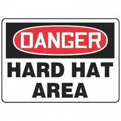 Accuform Signs - MPPA005VA - Danger Sign Hard Hat Area 10x14 Aluminum Regusafe Ansiz535.2-1998 Accuform Mfg Inc, Ea