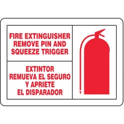 Accuform Signs - SBLFXG513VSP - Fire Extngsr Sgn, 3-1/2x5In, R/WHT, PK5