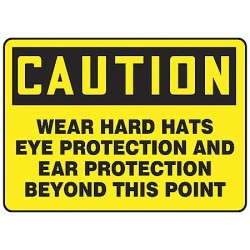 Accuform Signs - MPPE421VS - Caution Sign, 10 x 14In, BK/YEL, Self-ADH