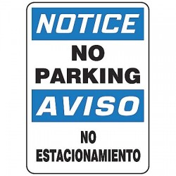 "Accuform Signs - SBMVHR854VS - Text No Parking/No Estacionamiento, Vinyl Bilingual Notice Sign, Height 14"", Width 10"""