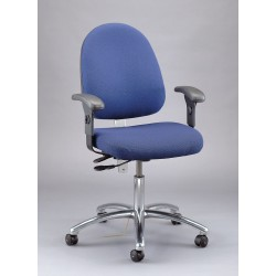 Bevco Precision - 9051L SLATE FABRIC - Electrostatic Dissipative Seating Desk Height Large Back Light Blue 17-22 In Fabric Bevco Ansi/bifma, Ea