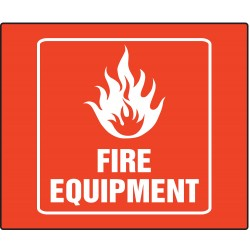Accuform Signs - PSP722 - Fire Equipment, No Header, Plastic, 8 x 8, With Mounting Holes, L-Shaped, Not Retroreflective