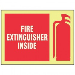"""Accuform Signs - MLFX539GF - Accuform Signs 7"""" X 10"""" Red, White And Yellow 10 mils Lumi-Glow Flex Fire And Emergency Equipment Sign """"FIRE EXTINGUISHER INSIDE (With Graphic) (GLOW)"""""""