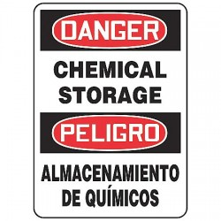 Accuform Signs - SBMCHL192VA - Danger Sign Chemical Storage Bilingual 10x14 Aluminum 29 Cfr 1910.145 Accuform Mfg Inc, Ea