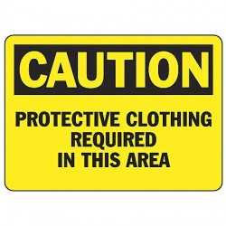 Accuform Signs - MPPE405VP - Caution Sign Protective Clothing 7x10 Plastic Ansi Z535.2-1998 Accuform Mfg Inc, Ea