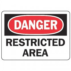 Accuform Signs - MADM148VS - Danger Sign Restricted Area 7x10 Self Adhesive Regusafe Ansi Z535.2-1998 Accuform Mfg Inc, Ea