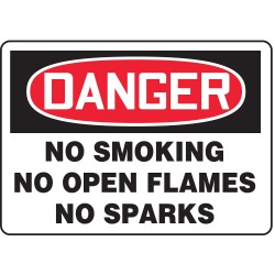 Accuform Signs - MSMK012VS - Accuform Signs 10 X 14 Black, Red And White 4 mils Adhesive Vinyl Smoking Control Sign DANGER NO SMOKING NO OPEN FLAMES NO SPARKS, ( Each )