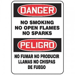 Accuform Signs - SBMSMK012VS - Danger No Smoking Sign, 14 x 10In, Text