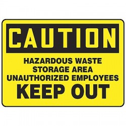 Accuform Signs - MCHL622VS - Chemical, Gas or Hazardous Materials, Caution, Vinyl, 10 x 14, Not Retroreflective