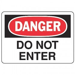 Accuform Signs - MADM138VP - Accuform Signs 7' X 10' Black, Red And White 0.055' Plastic Admittance And Exit Sign 'DANGER DO NOT ENTER' With 3/16' Mounting Hole And Round Corner, ( Each )