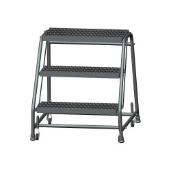Ballymore / Garlin - 326G - Garlin Spring Loaded Casters Rolling Ladder 3 Step Knock Down No Rails Grip Strut Steel Gray, Ea