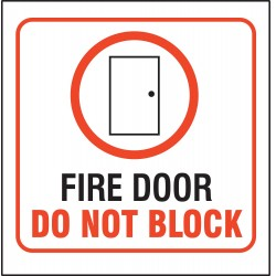Accuform Signs - PSP243 - Fire Door Sign, 8 x 8In, R and BK/WHT, ENG