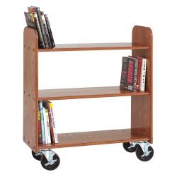 Diversified Woodcrafts - BT113 - Wood Book Truck with 3 Flat Oak Shelves, Deep Bronze Oak