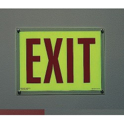 Accuform Signs - MADC501GF - Exit Sign, 10x14In, Red/Ylw, Self-Adhesive