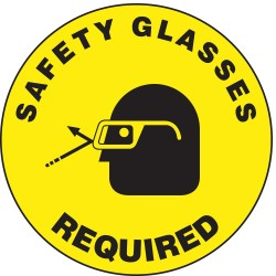 "Accuform Signs - MFS208 - Accuform Signs 17"" Diameter Black And Yellow 4 mils Adhesive Vinyl Slip-Gard Personal Protection Floor Sign ""SAFETY GLASSES REQUIRED"""