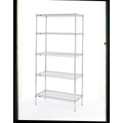 Metro (InterMetro) / Emerson - 4/2460NS2/63PS8/9995 - 60 x 24 x 63 Stainless Steel Wire Shelving Unit, Silver; Number of Shelves: 4