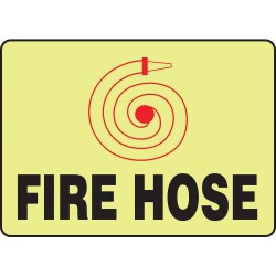 Accuform Signs - MLFX542GP - Fire Hose Sign, 7 x 10In, R and BK/YEL, FH