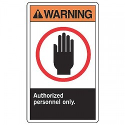 Accuform Signs - MRDM301VP - Warning Sign Authorized Personnel 10x7 Plastic Ansi Z535.4 - 1998 Accuform Mfg Inc, Ea
