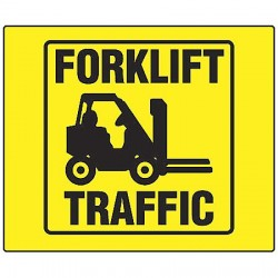 Accuform Signs - PSP138 - Lift Truck Traffic, No Header, Plastic, 6 x 8-1/2, With Mounting Holes, V-Shaped