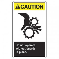 "Accuform Signs - LEQM637VSP - Accuform Signs 5"" X 3 1/2"" Black And White 4 mil Adhesive Vinyl Equipment Safety Label ""CAUTION DO NOT OPERATE WITHOUT GUARDS IN PLACE (With Graphic)"" (5 Per Pack)"