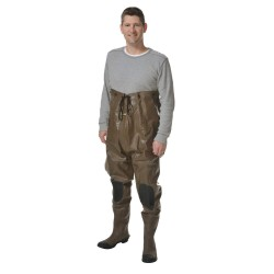 Pro Line - 2012 10 - Men's Plain Toe, Rubber Insulated Chest Waders, Brown/Black, Sz 10