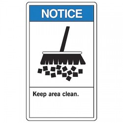 Accuform Signs - MRSK801VP - Notice Sign Keep Area Clean 14x10 Plastic Ansi Z535.4-1998 Accuform Mfg Inc, Ea