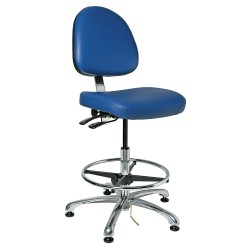 Bevco Precision - 9551M ROYAL VINYL - Electrostatic Dissipative Seating Bench Height Medium Back Royal Blue 23-33 In Vinyl Bevco Ansi/bifma, Ea