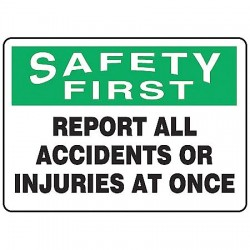Accuform Signs - MFSD933VA - Accident Prevention, Safety First, Aluminum, 7 x 10, With Mounting Holes, Not Retroreflective