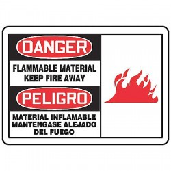 Accuform Signs - SBMCHL097MVA - Danger Sign Flammable Material Bilingual 7x10 Aluminum 29 Cfr 1910.145 Accuform Mfg Inc, Ea