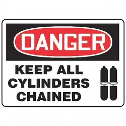 Accuform Signs - MCPG026VS - Danger Sign Keep Cylinders 7x10 Self Adhesive Accuform Mfg Inc, Ea