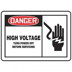 Accuform Signs - MELC145VA - Danger Sign, 10 x 14In, R and BK/WHT, AL, HV
