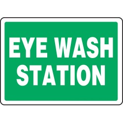 Accuform Signs - MFSD987VS - Accuform Signs 7 X 10 White And Green 4 mils Adhesive Vinyl First Aid Sign EYE WASH STATION, ( Each )