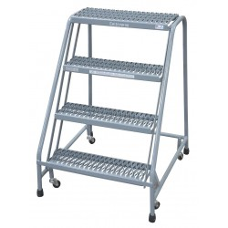 Cotterman - 1004N2630A3E10B3C1P6 - 4-Step Rolling Ladder, Serrated Step Tread, 40 Overall Height, 450 lb. Load Capacity