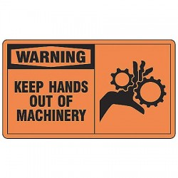 Accuform Signs - MEQM331VS - Warning Sign, 10 x 14In, BK/ORN, ENG, SURF