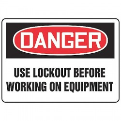 "Accuform Signs - MLKT021VA - Accuform Signs 7"" X 10"" Black, Red And White 0.040"" Aluminum Lockout/Tagout Sign ""DANGER USE LOCKOUT BEFORE WORKING ON EQUIPMENT"" With Round Corner"