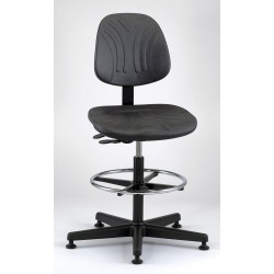 Bevco Precision - 7501D - Deluxe Stool Plastic Base Large Back Black 23-33 In H Polyurethane Bevco Ansi/bifma, Ea