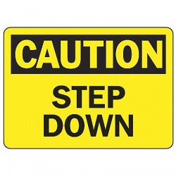 Accuform Signs - MSTF646VP - Caution Sign Step Down 7x10 Plastic Ansi Z535.2 - 1998 Accuform Mfg Inc, Ea